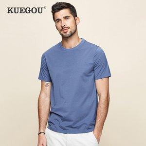 Kuegou Liso Algodón Modal Tshirt Cool Blanco Camiseta Hombre de verano Ropa de verano Mangas cortas Camiseta Top Top Plus Tamaño DT-5939 210225