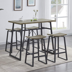 5-Piece Pub Height Bar Table with 4 Stools, Dining Room Table Set for Breakfast Nook, Living Room, Mini Bar or Patio, Light Oak