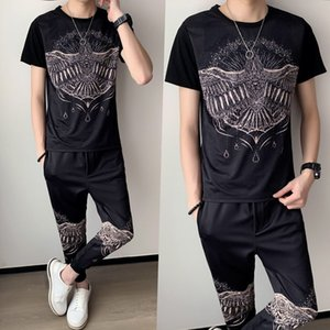 New Eagle Print Short Sleeve t Shirt Two Piece Slim Fit Outfits Set 2021 Spring High Quality Tracksuit Top and Pants Men 8qwu