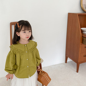 AMBB Newest Korean Style Fashions Kids Girls Blouses Shirts Double Turn-down Collar Lovely Princess Girls Children Tops Tshirts