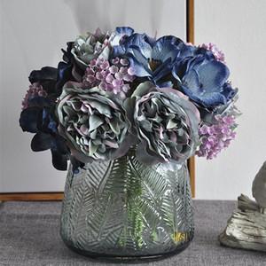 Neue nordische Pfingstrou-Blumenstrauß Anemone Hochzeit Brautstrauß Seide Künstliche Blumen DIY Scrapbook Flores Künstliche Room Decor GWD5252