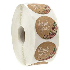 500 قطع جولة تسميات اليدوية كرافت ورقة التعبئة والتغليف ملصق الحلوى dratees لحضور حفل زهرة هدية مربع التعبئة حقيبة شكرا ملصقات