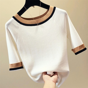 Patchwork half sleeve sweater women thin knitted pullover Korean slim sweaters fashion tops summer and autumn new arrival LJ200919