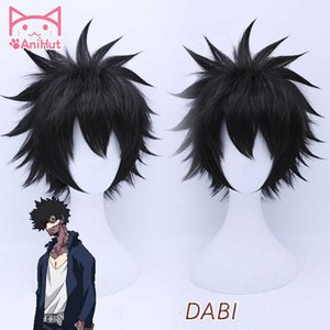 Anihutdabi My Hero Academia Cosplay Wig Synthetic Black Hair Anime Boku No Hero Academia Cosplay Wig Dabi Hair Heat Resistant Cx200817