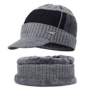 New High Quality Winter Mens Warm Knit Beanie Thick Lining Plus Velvet Casual Visor Hat Male Cotton Soft Cap Skullies Bonnet