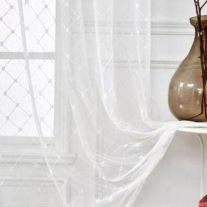 Rideaux pellicules à carreaux blancs pour salon Chambre à coucher brodé diamant élégant organza coulissant vitre coulissante porte de fenêtre