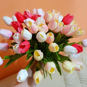 Single Silk Artificial Wedding Flowers Garden Tulips Real Touch Flowers Tulip Bouquet Decor Mariage for Home Wedding Decorations Fake Flower