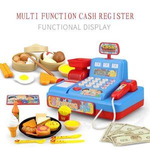 Children's Simulation Cash Register Pretend Toy Supermarket Cash Register With Scan Credit Card Function Kid Birthday Toy Gift 210312