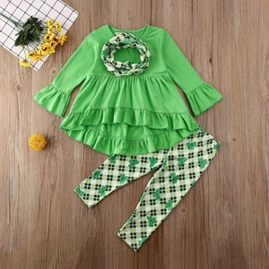 INS Kids Clothes Set Flared Sleeve T Shirt Dress Wave Skirt Pants Trousers Leggings Set Baby Girls Lucky Clover Set H32CXUO