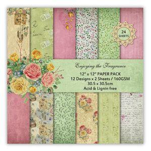 "DIY Scrapbooking Kit 12"" 24 Sheet Spring Bloom Enjoying Fragrance Flowers Papers Pack Decorative Paper Printed Background Paper"