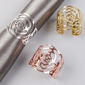 Rose Napkin Ring Silver Gold Rose Gold Color Hollow Out Napkin Holder For Party Wedding Table Decoration SN5173