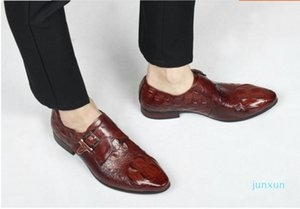 Wholesale-Dress Shoes CH.KWOK High Quality Mens Buckles Autumn Leather Oxfords Slip On Business Borgue Stage