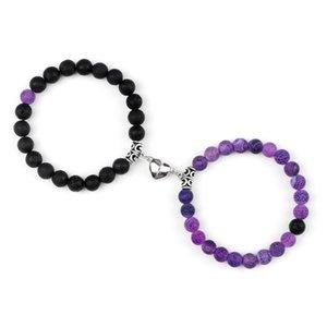2Pcs Set Romantic Heart Magnet Pendant Bracelets 8MM Weathered Stone Bangles Jewelry Couple Handmade Strench Pulsera
