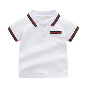 Fashion Summer Boys Girls Stripe Tee Shirt Fashion Kids Designer Stripe Lapel Short Sleeve T-Shirt Children Casual Tops F111