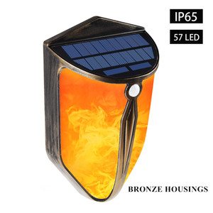 New LED Dual Mode Solar Fence Lamp Outdoor Waterproof Landscape Wall Light Villa Courtyard Garden European Flame Decoration Lamp