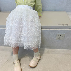 Lace Girls Skirts Long Tiered Skirts Princess Long Kids Skirt Spring Summer Fashion Kids Dress Children Clothing 2-7Y B4158