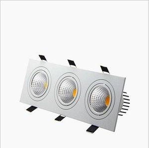 Gömme LED Dim 3 Kafa Kare Downlight COB 15 W 21 W 30 W 36 W LED Spot Işık Tavan Lambası AC85-265V LED Puck Işıkları