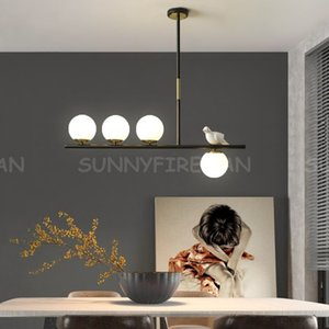 Creative Horizontal Pendant Lights Glass Ball with Bird Ceiling Hanging Lights Dining Room Table Kitchen Island Suspended Lamp
