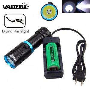 Vastfire negro bajo el agua 100m 1000 LM T6 LED Dimagen la luz de la antorcha de buceo con 26650 batería recargable + cargador