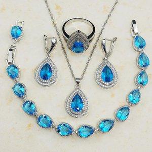 Earrings & Necklace GZJY Women Royal Light Blue Crystal Wedding Bridal Jewelry Sets 925 Sterling Silver Heart Cut Pendant Bracelet