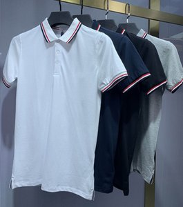 2021 Italien Herren Polo Hemden Mann T-shirt High Street Stickerei Solide Farbe Polos Strumpfbanddruck Top Qualität Cottom Kleidung Tees