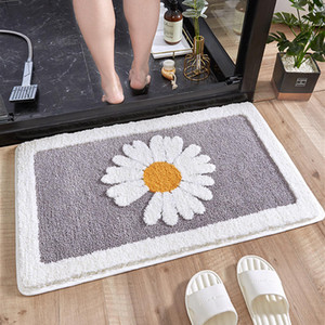 Bathroom Door Entrance Mat Daisy Bath Rug Bathroom Non-Slip Mat Toilet Door Mats Entrance Door Absorbent Mat Anti-slip Mats DHC6163