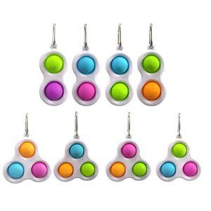 Brinquedos de Descompressão Keychains Fidget Simples Dimple Toy Sensory Push Bubble Pop Keyring Presente Chaveiro Chaveiro Correntes Saco Saco Charms Acessórios