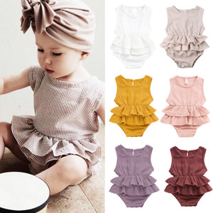 kids clothes girls boys Solid romper newborn infant ruffle Flying sleeve Jumpsuits 2021 Summer baby Climbing clothes