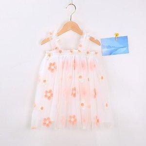 Çocuk Nakış Elbiseler Tül Askı Etekler Yaz Prenses Elbiseler Kız Tasarımcı Giysi Balo Elbise Elbise Dans Parti Zarif Deniz GWC6147
