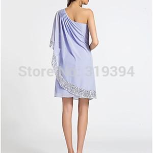 New Fashion 2021 Lavender One Shoulder Cocktail Sheath column Sequins Party   Holiday Es Plus Size Robe De Soriee 2127