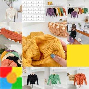 محبوك الفتيات ins Sweaters 2020 جميل الرباط البلوز قمم ربيع الخريف الكامل الأكمام الأزياء أطفال سترة أعلى M2593 6JT9