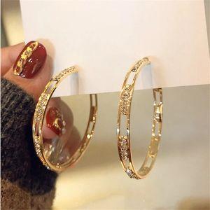 Brincos de aro de cristal redondos dourados para mulheres Bijoux Geometric Rhinestones Brincos Declaração Jóias Festa Presentes