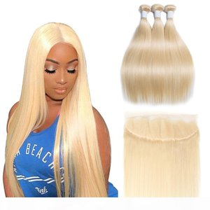 Modernshow 613 Bundles with Frontal Blonde Straight Hair Brazilian Hair Weave Human Hair Bundles with Frontal Remy Free Shipping
