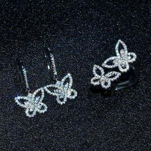 Butterfly Diamond set Real 925 Sterling Silver Engagement Wedding Rings Earrings For Women moissanite Jewelry Gift