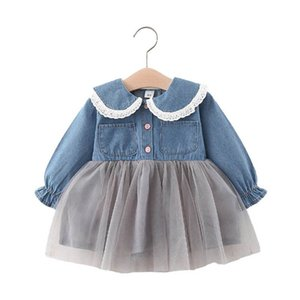 Denim Girls Dresses Baby Dress Lace Tutu Kids Dresses Spring Autumn Long Sleeve Princess Dress Baby Girl Clothes 1-5Y B4168