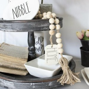 Wood Bead Garland With Tassels DIY Tag Farmhouse Home Beads Neutral Farmhouse Decor Vintage Home Decor YL348