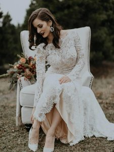 2021 Bohemian Mermaid Lace Wedding Dresses Vintage Long Sleeves robe de mariage Bridal Gowns Sexy Backless Sweep Train Marriage Dress