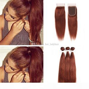 Silky Straight Dark Auburn Brown Brazilian Hair Bundles with Lace Closure Color 33 Copper Red Human Hair Weave with Free Part Closure