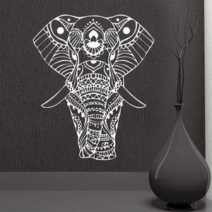Rownococean Mandala Yoga Ornement Indien Bouddha God Elephant Stickers muraux de la maison Décor Art Salon Vinyl mural amovible M613 210308