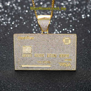eternity New VISA card hip-hop pendant Iced Out CZ Diamonds inlaid necklace solid glossy creative trendy male hiphop hip-hop rap accessories