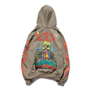 Album de algodón Skull Palace Hoodie Coats Hip-Hop Graffiti Plus Hoodie Hoodies con capucha para hombres y mujeres