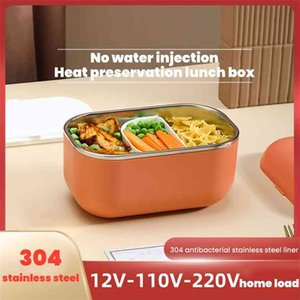 1000ml Electric Lunch Box Food Container Warmer Portable Car Office School Heating Lunchbox Stainless Steel Bento Dinnerware 210821