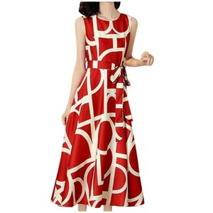 Maternity Dresses Summer Ladies Slim Dress Fashion Casual Women O-Neck Sleeveless Long A-Line Printed Colorful A Line Party
