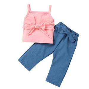 Kids Girls Casual Outfits Solid Colors Sling Vest Sleeveless Top Toddler Lacing Pants Kids Elastic Pocket Trouser Girls Clothes
