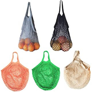 Reusable Mesh Cotton String Bag Organizer Portable Shopping Tote Washable Handbag for Grocery Shopping Outdoor Packing Bags
