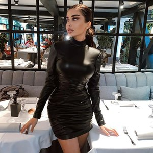 Women Ladies Slim Dress Solid Color Long Sleeve High Collar Pleated Skinny One Piece Sexy Mini Dress for Party Clubwear