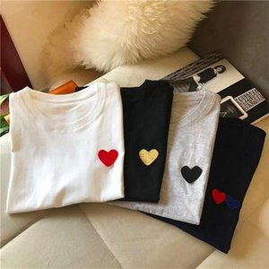 Ceodogg O cuello jersey manga corta camiseta mujer patrón de corazón patrón suelto amantes algodón camisetas verano nuevas camisetas damas top c0220