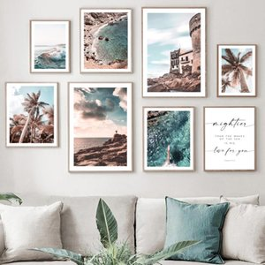 Paintings Tropical Beach Sea Waves Ship Palm Quotes Wall Art Canvas Painting Nordic Posters And Prints Pictures For Living Room Decor