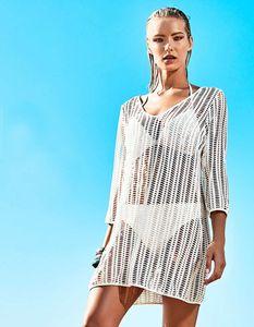 Women's hollow beach skirt Bohemian sexy perspective mesh dress