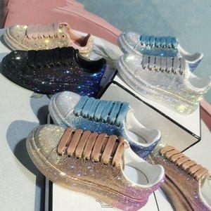 European women's casual shoes 2021 new McQuanda rhinestone platform shoes star gradient full diamond trend all-match